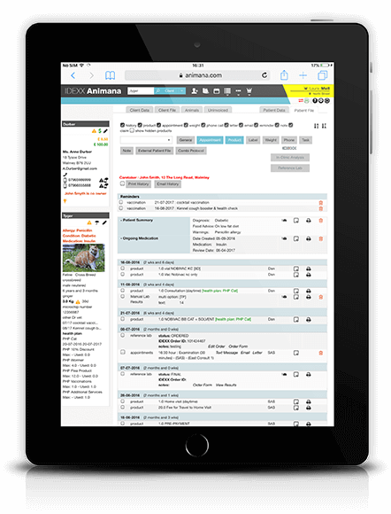 Animana medical record on an ipad